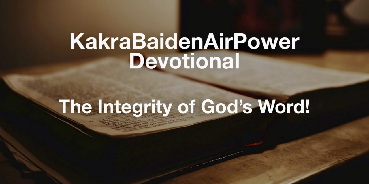 Thanks The Integrity of God's Word!